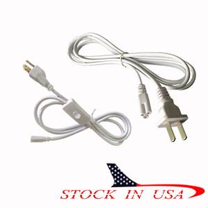 Conector T8 T5 CONDUZIU a extremidade dupla cabos de alimentação com interruptor EUA Plug para conector de tubo de led integrado luzes Em Estoque