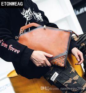 Factory Direct Brand Men Bag Retro Mad Horse PU Leather Handbag Individual Ancient Rivet Punk Men Wrist Bag Trend Rivet Slant Shoulde