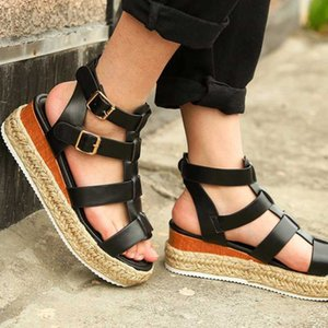 New Platform Woman Shoes Open Toe Ladies Leather Linen Solid Color Sandals Summer Shoes Fashion Buckle Women Sandals