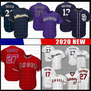 13 Manny Machado Baseball Jersey 27 Mike Trout 17 Shohei Ohtani 28 Nolan Arenado 22 Christian Yelich Jersey Jersey legal de beisebol