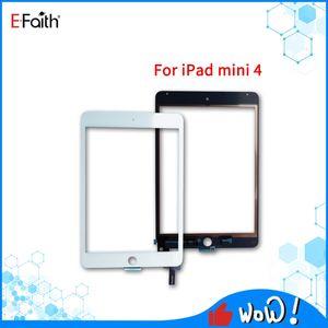 Pour iPad Mini 4 écran tactile en verre Digitizer Assemblée de remplacement des pièces de réparation de haute qualité Noir / Blanc avec bouton Accueil + de ruban adhésif