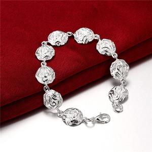 brand new Full roses 925 silver plate charm bracelet 19x1.3cm DFMWB135,women's sterling silver plated jewelry bracelet