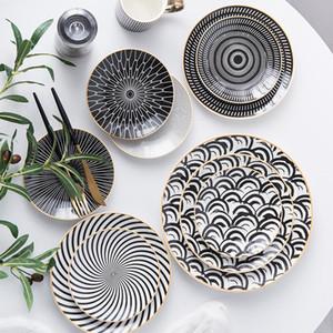 6PC Louça Phnom Penh Geometria Louça 6/8/10 Inch Dinner placa cerâmica prato de porcelana Dessert Plate Placa Louça bolo