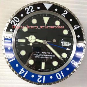 9 colores Nuevo reloj de pared de acero GMT 116710 116718 116719 34 cm x 5 cm azul luminiscente que magnifica la fecha de vidrio VK decoración del hogar Relojes de Pared
