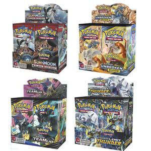 Sun Moon 36 Packs Poket Monstro Playing Trading Cards Games 13 estilos Inglês Edição Anime Pocket Monsters Cartões de exibição Box TCG 324 pcs