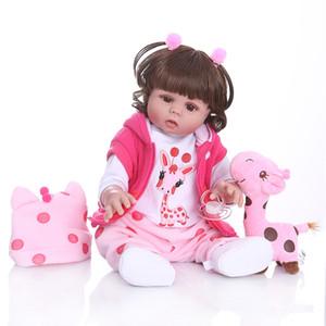 Вьющиеся волосы 49см Bebe Doll Reborn Reborn Girl Girl в розовом платье Полное тело Мягкая силиконовая реалистичная детская ванна игрушка водонепроницаемый