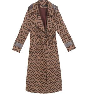 2020 Nouveau femmes trench Slim femmes F-longues lettres Vestes et manteaux Pardessus Trench Coat femmes coupe-vent Manteaux d'hiver
