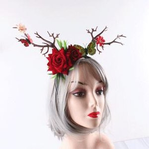 2019 New Creative Europe Forest Branches Hairband Yarn Roses Christmas Forest Party Elk Horn Headdress Studio Stage Party