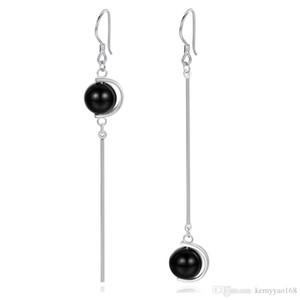 Wholesale Asymmetric Long Earrings 100% 925 Sterling Silver Drop Earrings Silver Jewelry with Onyx