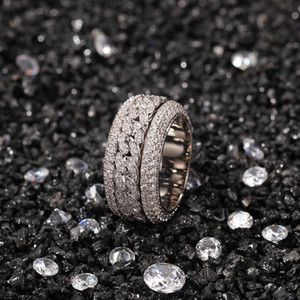 Bague cubaine rotative de mode hip hop bijoux hommes hommes argent argent haute qualité diamant glacé
