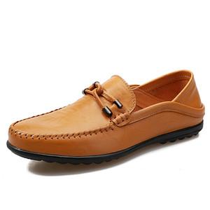 Para hombre otoño zapatos casuales de cuero de calidad masculino zapatos de los holgazanes de conducción confortable para hombre Mocasines holgazanes de los planos masculino HC-602