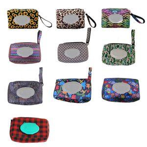Neopren-Feuchttücher Spender Box gedruckt Außen Reisen Baby Neugeborene Kinder Wischen Gewebe-Kasten-Kasten-Tasche Umweltfreundliche nassen Papiertuch Tasche XD23063