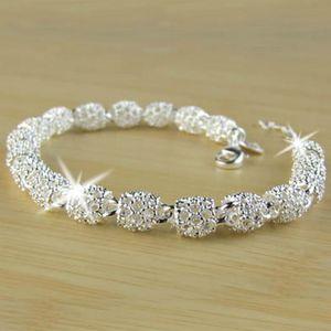 925 Joyas de plata esterlina Hallow Out Beads Link Chain Pulsera Hecho A Mano Hecho A Mano Langosta Pulsera (Tamaño: 19.0 cm, Color: Plata)