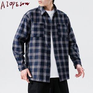 AIOPESON New shirt dos homens da manta solta Manga comprida Retro Confortável Contraste Cor Mens Vestuário Tops Fashion Trend shirt