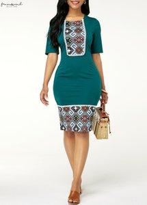 2020 Plus Size Summer Women Dress Name Ethnic Slim Bag Hip Dress Female Round Neck High Waist Casual Dress