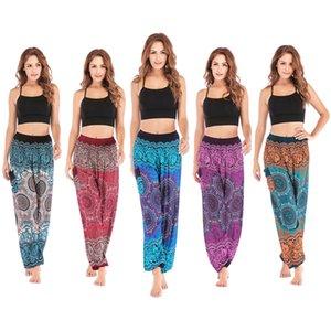 Pantalon en coton de femmes fashion-2019 été automne géométrique imprimer rétro pantalons de lanterne de yoga lâche mince longue plage femme capris SKT009