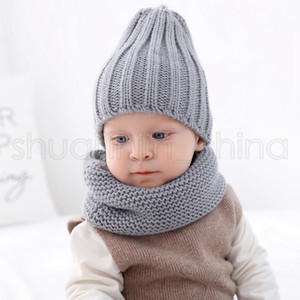 Children Hat Scarf Set 2Pcs Set Fashion Baby Outdoor Travel Winter Warm Knitted Beanies Caps Kids Soft Scarves TTA1632