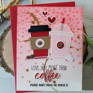 4 pc / set sfondo amante del caffè per la fabbricazione di DIY decorativa carta di carta scrapbook modello di plastica del mestiere di carta