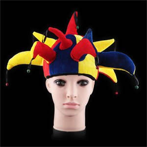 Multicolor Cour Jester Chapeau drôle de clown Halloween Cosplay Cap Carnaval Halloween Accessoires Hommes Femmes Party SuppliesWithBellsFE75