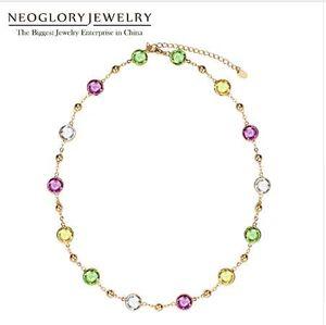 Neoglory сделано с элементами SWAROVSKI кристаллы светло-желтый колье цепи Макси длинные ожерелья Для женщин День Святого Валентина подарки