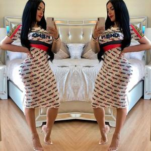 Ücretsiz Gemi 2019 Yeni Kadın Moda Mektup Baskı Kalem Elbise Rahat Yüksek Bel Bodycon Diz Boyu Elbiseler