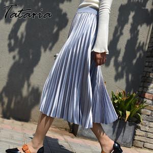 Tataria Taille Haute Soie Jupe Pour Femmes Gradient Couleur Mi mollet Jupe Haute Qualité Plissée Jupes une ligne femelle School1
