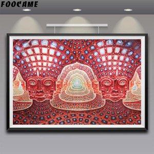 Poster FOOCAME Trippy Alex Grey y Grabados Arte de la pared de la Seda la decoración del hogar Pintura Abstracta Fotos de la sala