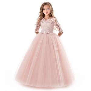 Long Evening Dress Flower Girl Dresses Teenager Wedding Communion Lace Sleeve Children Clothes 9 10 12 14 Yrs Birthday Outfits