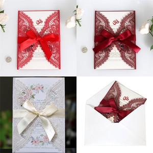 Creuser Invitation Mariage Festival Félicitations Carte Dentelle Laser Cartes Perle Rouge Ternes Rouge Clair Couleur Blanc 2 3dd J1