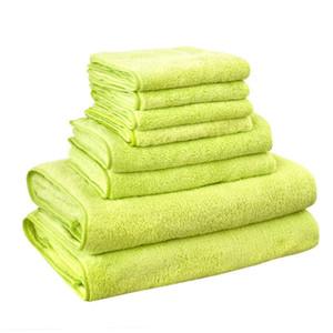 8PC / Set Micrifiber Bath Towel Set Quick Dry Solid Color Playen Grey Blue Blue Color Bath Face Hand Hair Towel Sets