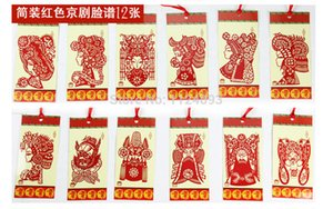 12 marque-pages / sac chinois carnets de notes en papier Zodiac découpant du papier opéra de Pékin en papier découpé signet animal mignon