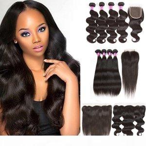 A Black Friday Deals Brazilian Virgin Hair Body Wave Straight Peruvian Human Hair Bundles With Closure 13x4 Lace Frontal Closure Wholes