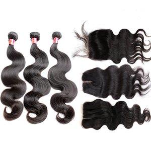 Bella Hair® Haar Bündel mit Closure peruanischen Voller Kopf Rohboden Menschenhaar-Webart mit Closure-natürlichen Farben-Körper-Wellen-freien Verschiffen