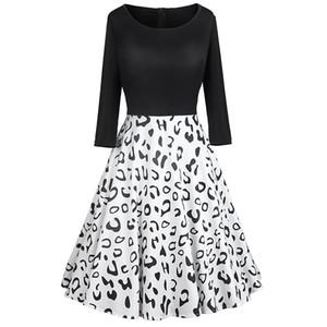 Leopard Print Dress donne dell'annata inverno casual Plus Size swing Dress Robe Femme manica lunga elegante Black Party Dresses Vestido