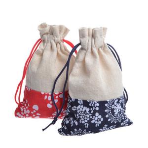 10x14 cm Algodão saco de chá Cordão azul saco de pano de algodão China vento azul e branco porcelana saco de pano de algodão 50 pc / lote