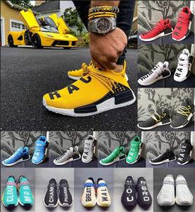 2019 Atacado trilha raça humana Shoes Homens Mulheres Pharrell Williams amarelas núcleo tinta nobre vermelho branco preto sapatos casuais das sapatilhas grande tamanho 5-12