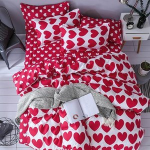 38 Home Textile Fashion Bedding Sets Girl Adult Teen Linens Red Heart Fashion Duvet Cover Pillowcase Flat Bed Sheet Queen