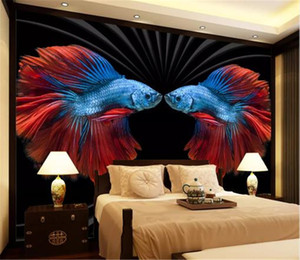 Wall Paper HD Embossed Modern Retro Personalized Color Fish Wallpaper home decor