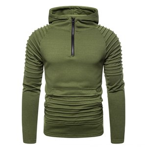 2019 European size hooded Pullover Coat pullover men's casual sweater coat pleated zipper sweater