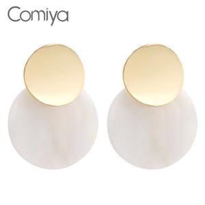 Падение серьги Comiya падение серьги мода Золотой цвет цинковый сплав круглый смолы женщины мотаться серьги букле D'oreille плюм Pendientes Ethnicos