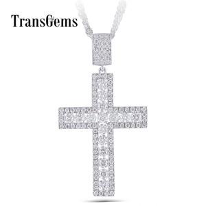 Transgems Kreuz Anhänger für Männer platiniert Silber klar Moissanite Vvs1 mit Silberkette Y19032201
