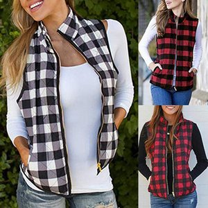 Le donne Plaid Pocket Vest Buffalo Zipper Via anteriore aperto Color Block risvolto cardigan patchwork maniche OOA7576 Jacket