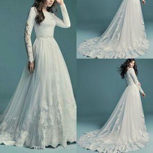 Düğmeler elbiseler de mariée ile 2020 Modest Dantel A Hattı Gelinlik Mürettebat Boyun Uzun Kollu Tül Aplike Düğün Gelin Önlükler