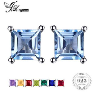 JewelryPalace Square Natural Amethysts Citrines Granates Peridots Topazs Pendientes Stud Genuino 925 Joyería de Plata Esterlina Marca