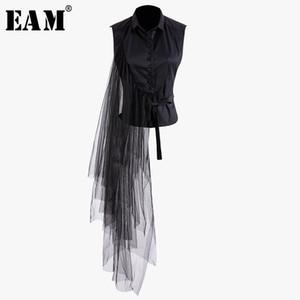 [EAM] 2019 neue Frühlings-Sommer-Revers Sleeveless Schwarz Unregelmäßige Bandage Mesh-Stich-loses Shirt Frauen Bluse Fashion Tide JT870