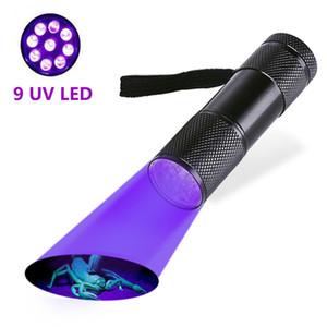 미니 9LED UV 손전등 자외선 손전등 울트라 바이올렛 보이지 않는 잉크 마커 감지 토치 라이트 3 UV 램프를 주도