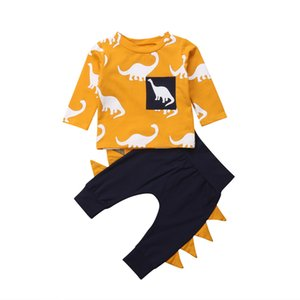 New Toddler Baby Girl Boy Autumn Clothes Sets Dinosaur Print Long Sleeve Pullover Sweatshirt Tops+ 3D Triangle Pants