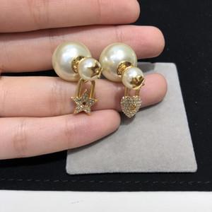 Pendientes de la perla del amor marca de moda de alta versión de oro para Wonam Diseño partido de las mujeres de los amantes de la boda joyería de la marca de regalo para la novia con la CAJA