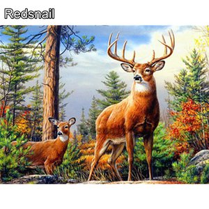 Diamond Painting 5d Deer Cross Stitch Picture Of Rhinestones Diamond Embroidery Animal Mosaic Handmade Gift Home Decor TT484