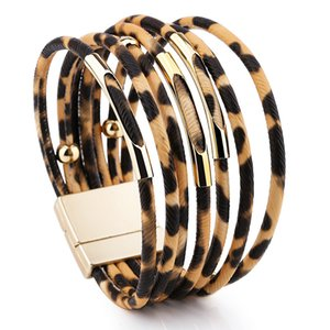Pulseira de couro de leopardo para mulheres Moda Magnetic Clasp Braceletes Bangles elegante jóias dom Multilayer Enrole Pulseira DBC VT0981